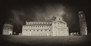 Miracles Square in Pisa, Black and White view Royalty Free Stock Photos