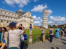 Miracoli Square with Pisa Cathedral and Leaning Tower - PISA ITALY - SEPTEMBER 13, 2017 Stock Image