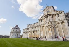 Miracoli Square with Pisa Cathedral and Leaning Tower - PISA ITALY - SEPTEMBER 13, 2017 Royalty Free Stock Photography
