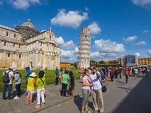 Miracoli Square with Pisa Cathedral and Leaning Tower - PISA ITALY - SEPTEMBER 13, 2017 Royalty Free Stock Photos