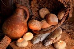 Miracolo di pane e dei pesci Fotografia Stock Libera da Diritti