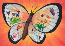 Miraculous Butterfly blossoms 2017. An abstract colorful watercolor painting illustration of a large white butterfly with red spots on its wings flying in front Royalty Free Stock Photos