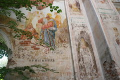 Miraculously preserved fresco paintings on the walls of an Orthodox Church in Tver region Stock Photos