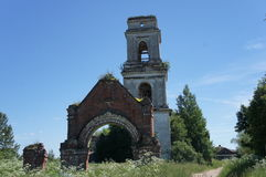 Miraculously preserved remains of an Orthodox Church in Tver region. The remains of the destroyed Orthodox Church in village of the Tver region Pogoreltsy stock images