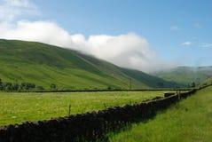 Mirada abajo del valle de Ettrick en Selkirkshire en verano fotografía de archivo