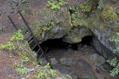 Mirada abajo en una entrada de la cueva foto de archivo