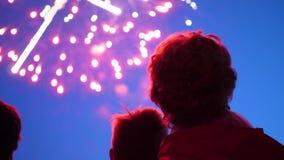 Mirada de la familia en el cielo en los fuegos artificiales El cielo nocturno en luces almacen de video