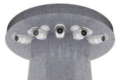 Mirada de las cámaras de vigilancia alrededor Fotografía de archivo