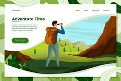 Mirada del hombre del viaje del vector en prismáticos en la montaña stock de ilustración