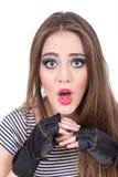 Mirada del maquillaje de la muchacha que lleva rubia magnífica Fotografía de archivo libre de regalías
