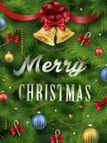 Mirada del primer en el árbol de navidad Imagen de archivo