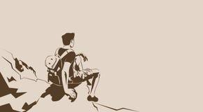 Mirada del Trekker de Sit On Cliff Rest Hiker del viajero para vaciar el espacio de la copia stock de ilustración