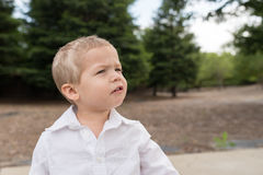 Mirada exterior del retrato joven del niño para arriba fotografía de archivo