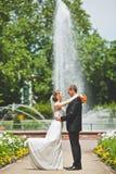Mirada feliz del novio y de la novia en uno a Foto de archivo libre de regalías