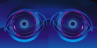 Mirada fija de los ojos fuera del azul profundo Imágenes de archivo libres de regalías