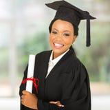 Mirada graduada del africano femenino Imágenes de archivo libres de regalías