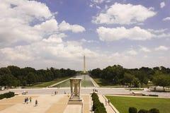 Mirada hacia el este a través de la alameda nacional en Washington DC de Lincoln Memorial Foto de archivo libre de regalías