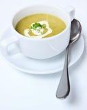 Mirada hecha hogar de la sopa del bróculi sabrosa fotografía de archivo