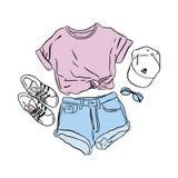 Mirada real del verano del dibujo del vector Camiseta determinada del desgaste de la calle, vaqueros, zapatillas de deporte, somb ilustración del vector
