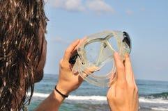 Mirada a través de los anteojos para el salto fotografía de archivo