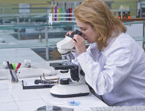 Mirada a través de un microscopio Fotografía de archivo