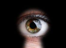 Mirada a través de un ojo de la cerradura Fotografía de archivo libre de regalías
