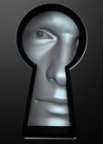 Mirada a través del ojo de la cerradura Imagenes de archivo