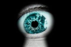 Mirada a través del ojo de la cerradura Fotografía de archivo libre de regalías