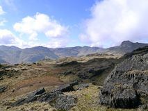 Mirada a través del gran valle de Langdale Imagen de archivo libre de regalías