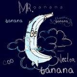 Miradas de Sr. Banana como luna ilustración del vector