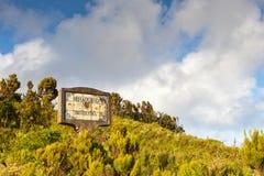 Miradoiro de Tronqueira sign. At the Serra de Tronqueira, Azores, Portugal Stock Images