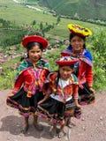 Mirador的Taray孩子在Pisac附近在秘鲁 库存照片