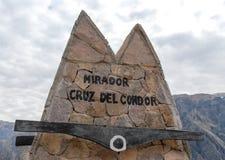 Mirador Cruz del Condor Arkivbild