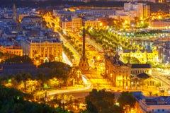 Mirador de Colom τη νύχτα, Βαρκελώνη, Ισπανία Στοκ Εικόνες