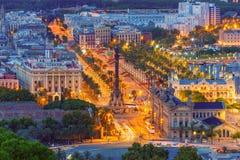 Mirador de Colom en la noche, Barcelona, España Imagen de archivo