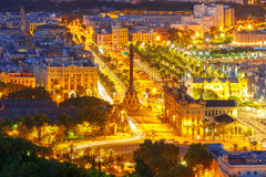 Mirador de Colom at night, Barcelona, Spain Stock Photo