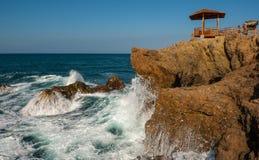 Mirador de la Chocolatera, Ecuador. Waves splashing beneath the mirador at La Chocolatera near Salinas, Ecuador Stock Photo