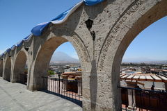 Mirador de Yanahuara. Arequipa. Peru. Arequipa is the capital and largest city of the Arequipa Region and the second most populous city in Peru. Yanahuara royalty free stock photo