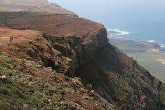 从Mirador del里约的壮观的看法在海岛兰萨罗特岛,西班牙 免版税库存图片