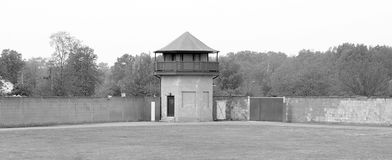 Mirador of the former Nazi concentration camp. SACHSENHAUSEN-ORANIENBURG, GERMANY  05 21: Mirador of the former Nazi concentration camp, now the Sachsenhausen Royalty Free Stock Photography