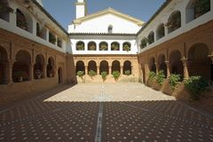 Mirador of the Friars and Mudejar style courtyard and cloisters of 15th-century Franciscan Monasterio de Santa Mar�a de la R�b Royalty Free Stock Photography