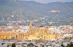 Mirador sur de Córdoba. Southern part of the city of Córdoba, Spain, as the star of the picture is the view from the center Mosque crowning the city, camera Royalty Free Stock Images
