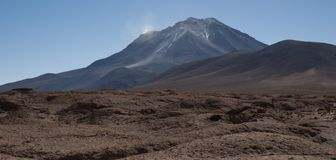 Mirador of Volcano Ollague. It`s a massive stratovolcano on the border between Bolivia and Chile Stock Photos