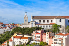 Miradouro da Graca from Sao Jorge castle in Lisbon, Portugal royalty free stock photo