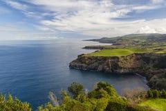 从Miradouro De圣诞老人Iria,亚速尔群岛,葡萄牙的看法 库存照片