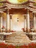 Miradouro de mármore com flores do outono Imagem de Stock