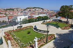 Miradouro de Sao Pedro de Alcantara Lisbon Royalty Free Stock Photo