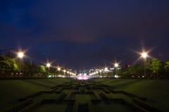 Miradouro do Parque Eduardo VII in Lisbon by Night, Portugal royalty free stock images