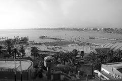 Miraflores fjärd, Lima, Peru - svart- & vitbild arkivbild