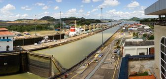Miraflores Locks of the Panama Canal. stock images